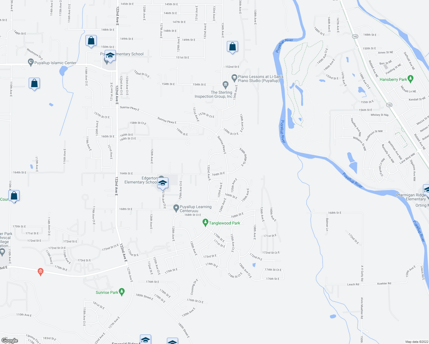 map of restaurants, bars, coffee shops, grocery stores, and more near 13214 163rd Street Court East in Puyallup