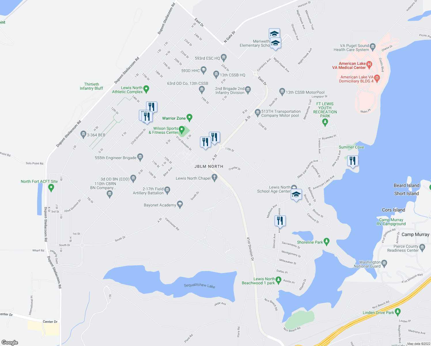 map of restaurants, bars, coffee shops, grocery stores, and more near 41st Division Drive in Joint Base Lewis-McChord