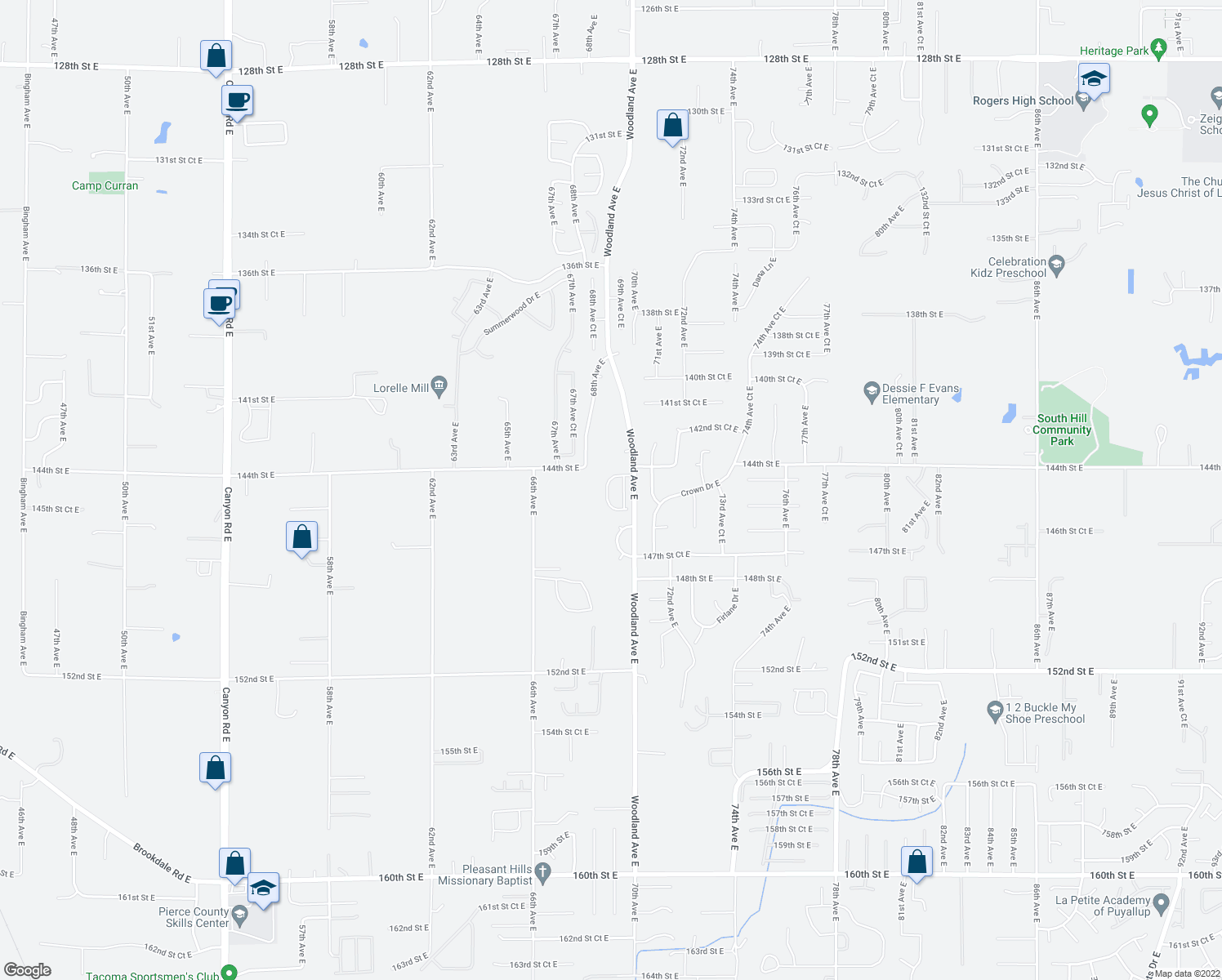 map of restaurants, bars, coffee shops, grocery stores, and more near 14407 68th Avenue Court East in Puyallup