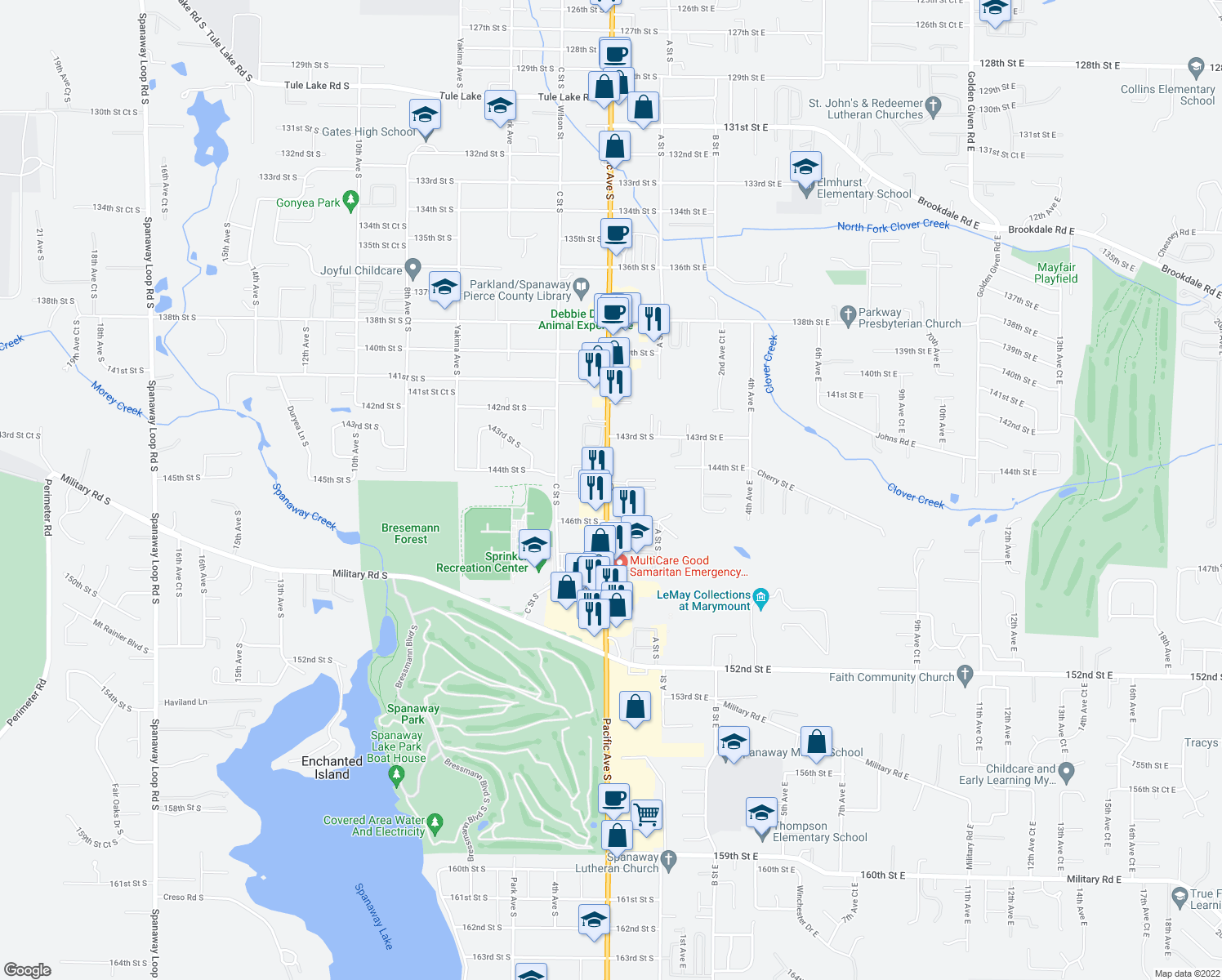 map of restaurants, bars, coffee shops, grocery stores, and more near 14423 Pacific Avenue South in Tacoma