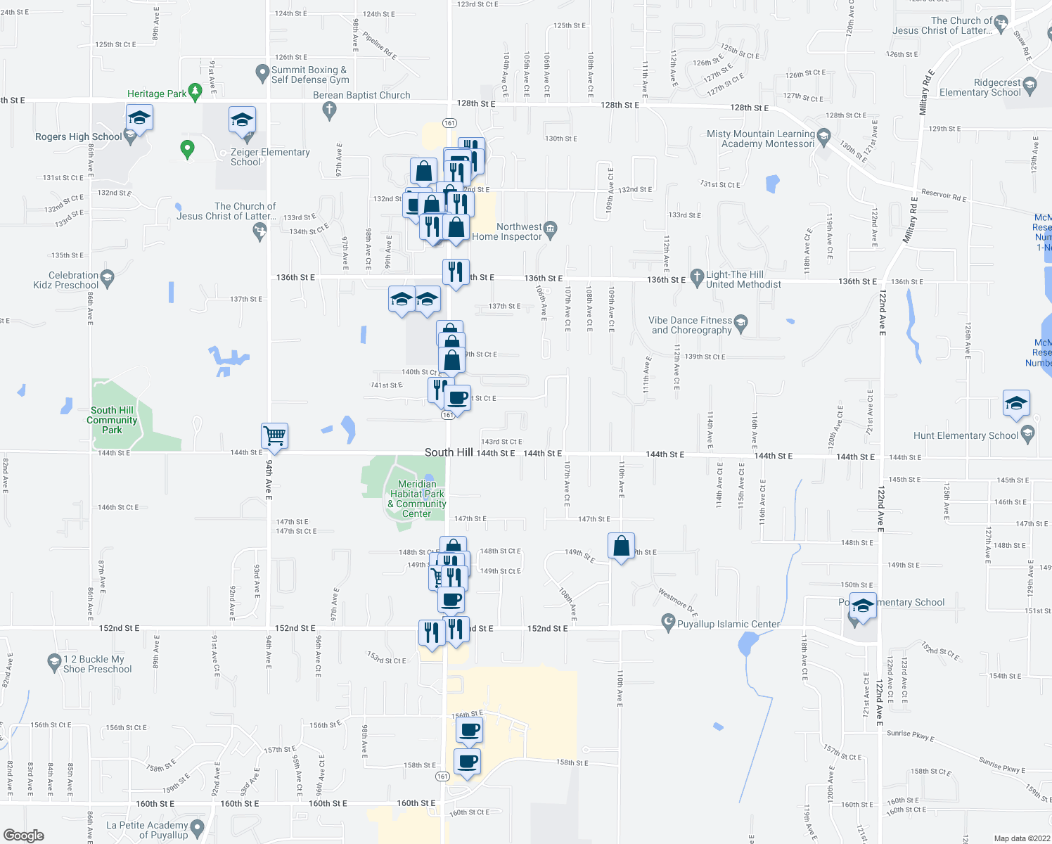 map of restaurants, bars, coffee shops, grocery stores, and more near 14209 103rd Avenue Court East in Puyallup