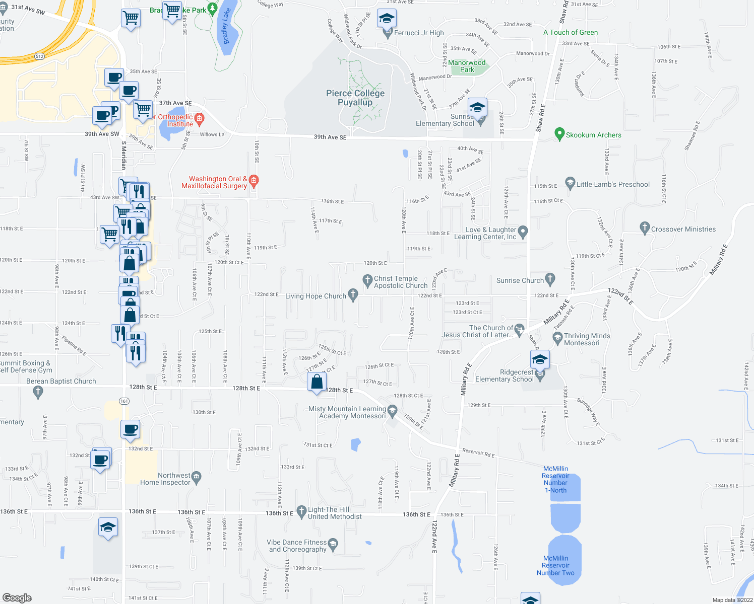 map of restaurants, bars, coffee shops, grocery stores, and more near 12214 118th Avenue Court East in Puyallup