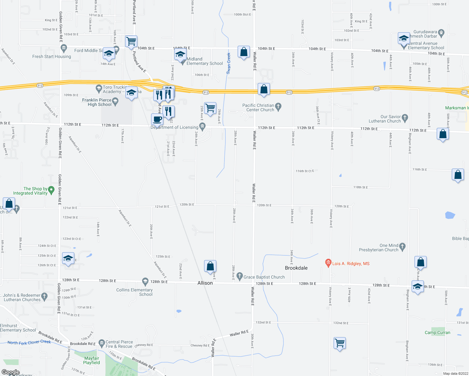 map of restaurants, bars, coffee shops, grocery stores, and more near 11821 28th Avenue East in Tacoma