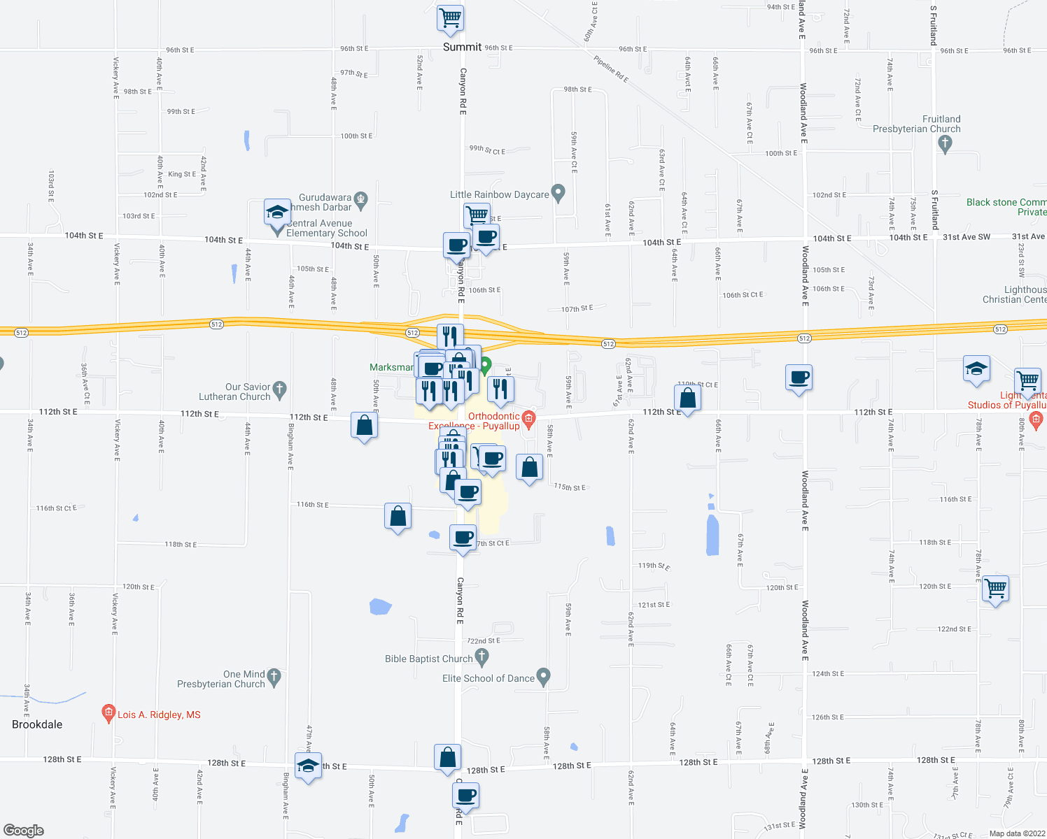 map of restaurants, bars, coffee shops, grocery stores, and more near 5608 112th Street East in Puyallup