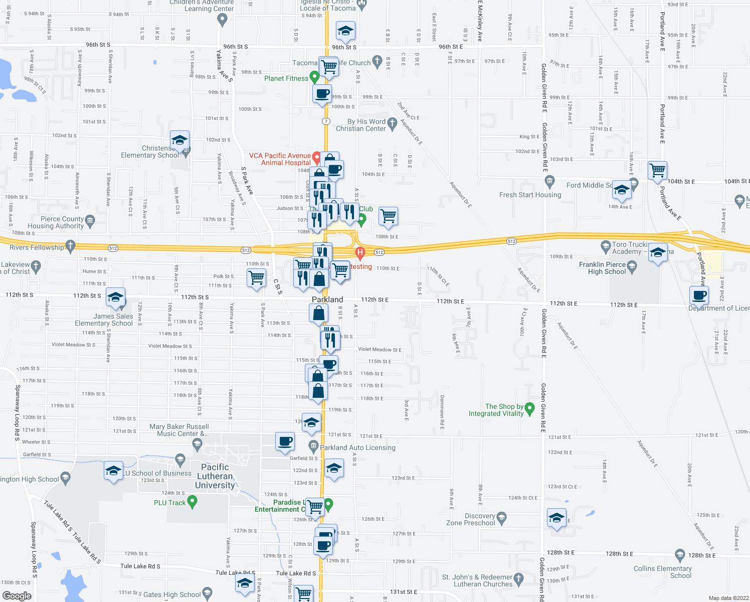 map of restaurants, bars, coffee shops, grocery stores, and more near 101-161 112th Street East in Parkland
