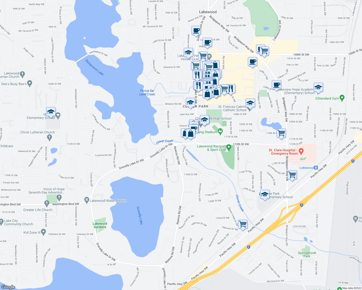 map of restaurants, bars, coffee shops, grocery stores, and more near 11151 Gravelly Lake Drive Southwest in Lakewood