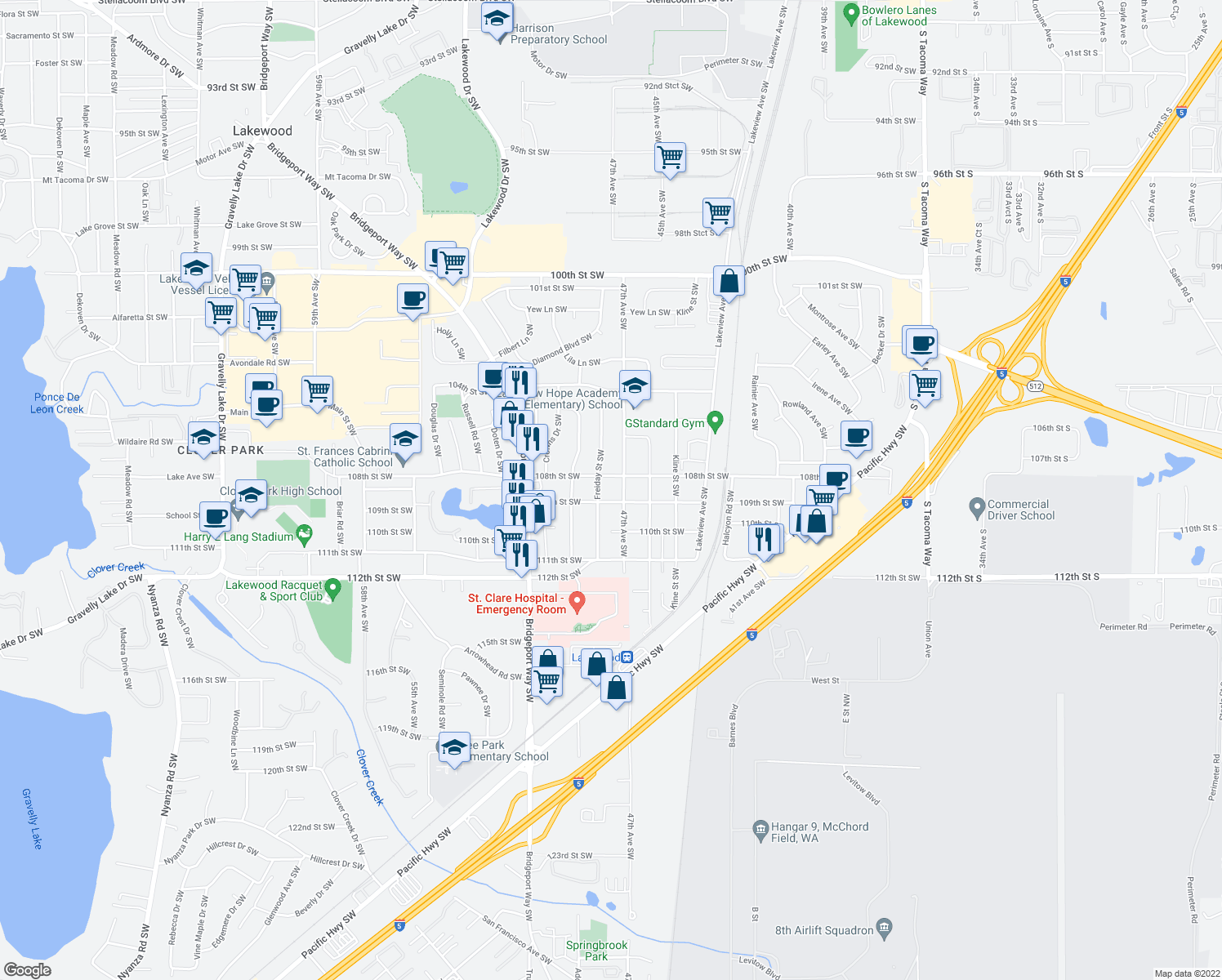 map of restaurants, bars, coffee shops, grocery stores, and more near 4700-4798 109th Street Southwest in Lakewood
