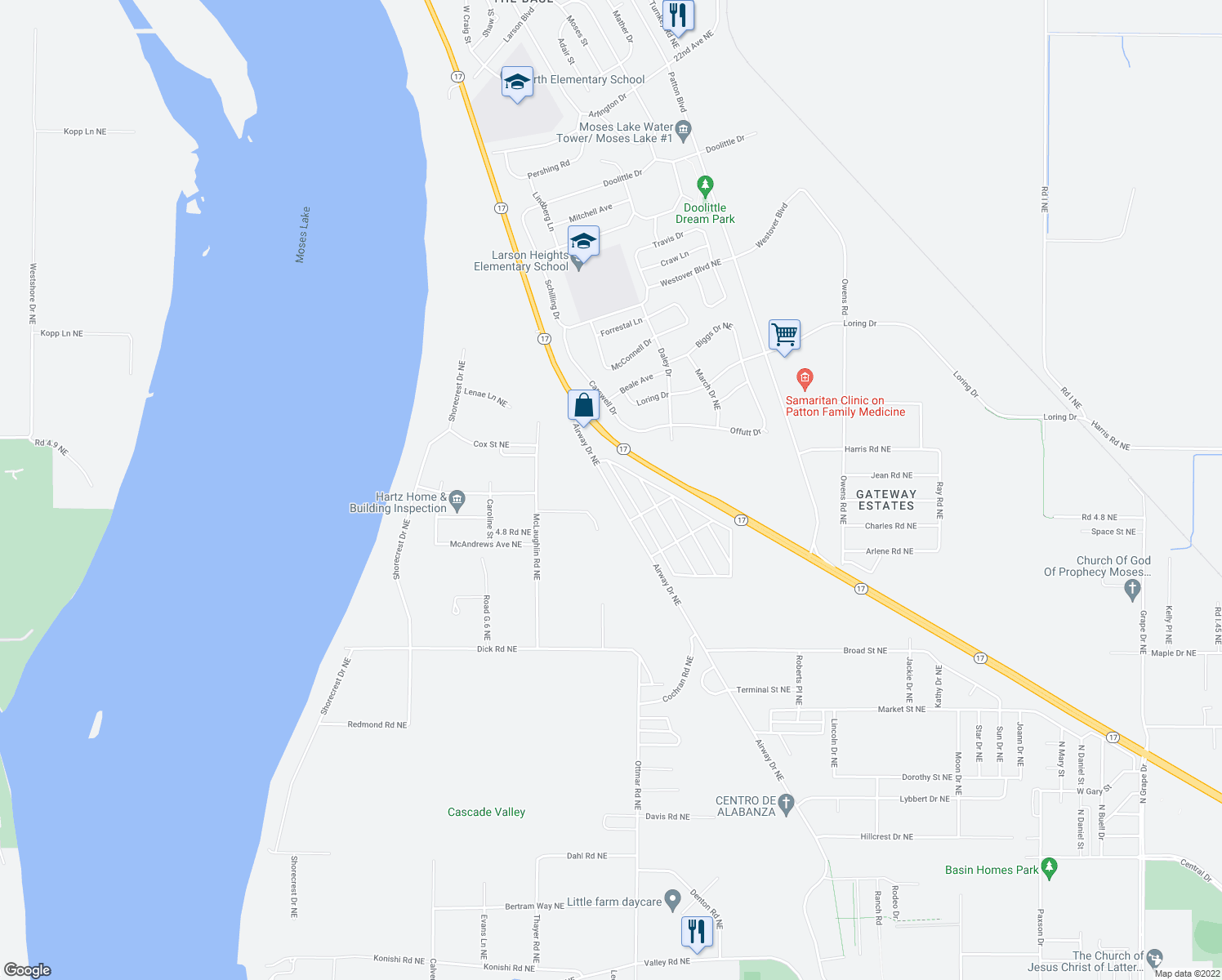 map of restaurants, bars, coffee shops, grocery stores, and more near 4866 Airway Drive Northeast in Moses Lake