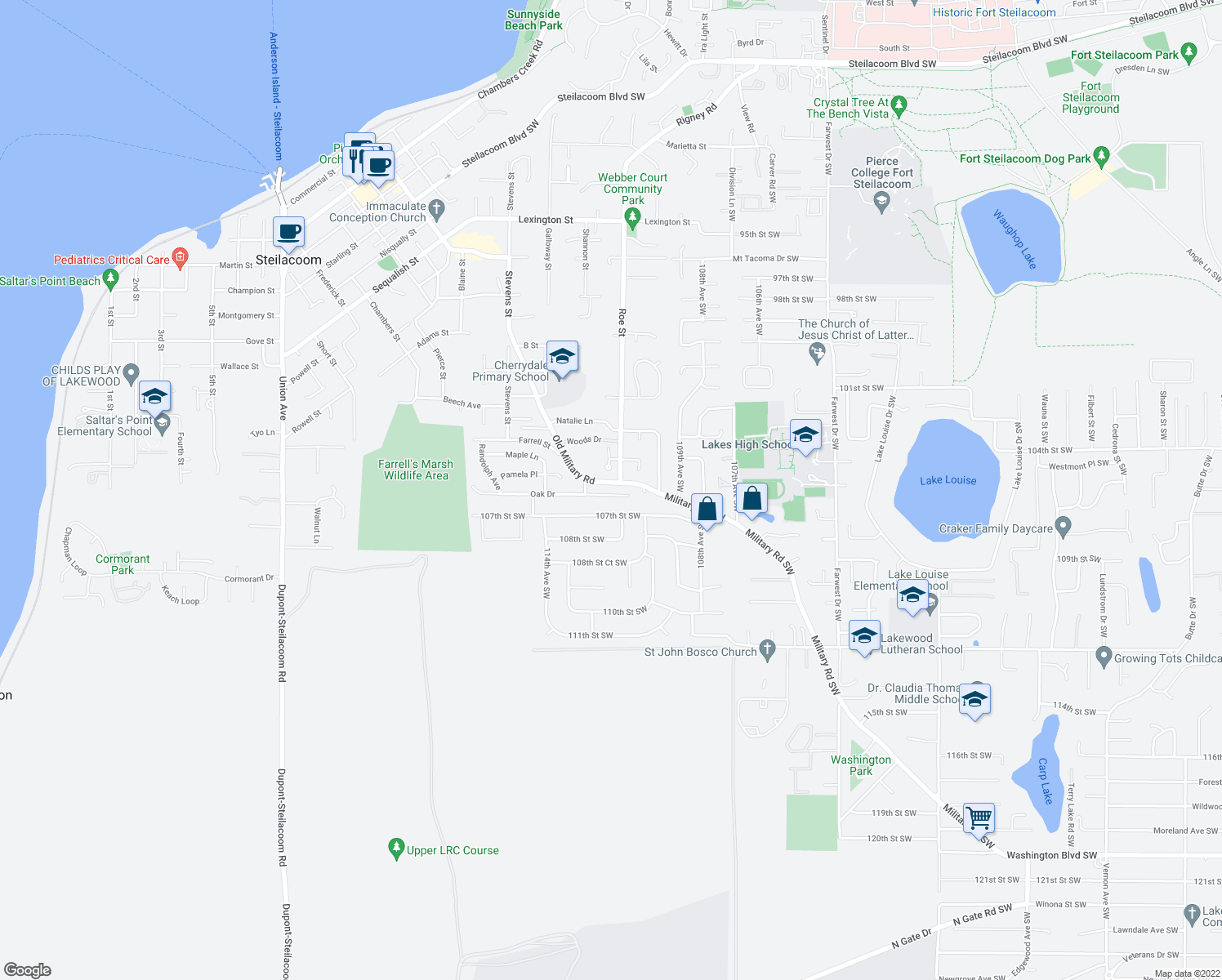map of restaurants, bars, coffee shops, grocery stores, and more near 2409 Oak Drive in Steilacoom