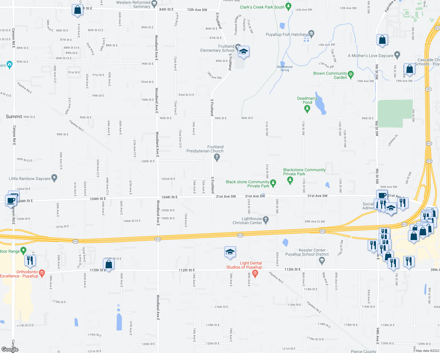 map of restaurants, bars, coffee shops, grocery stores, and more near 2601 29th Avenue Southwest in Puyallup