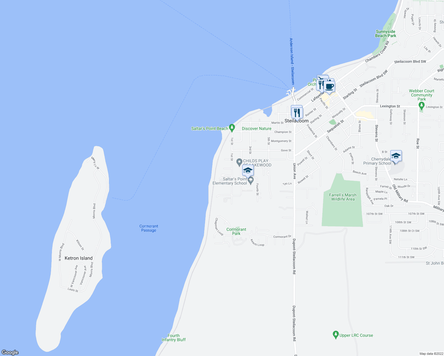 map of restaurants, bars, coffee shops, grocery stores, and more near 816 1st Street in Steilacoom
