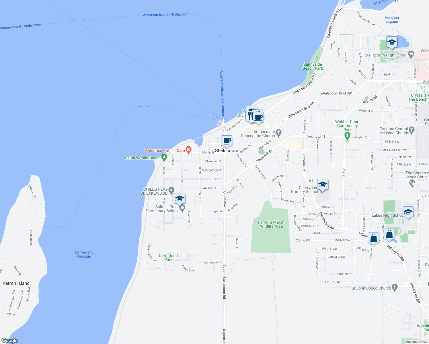 map of restaurants, bars, coffee shops, grocery stores, and more near 610 Montgomery Street in Steilacoom