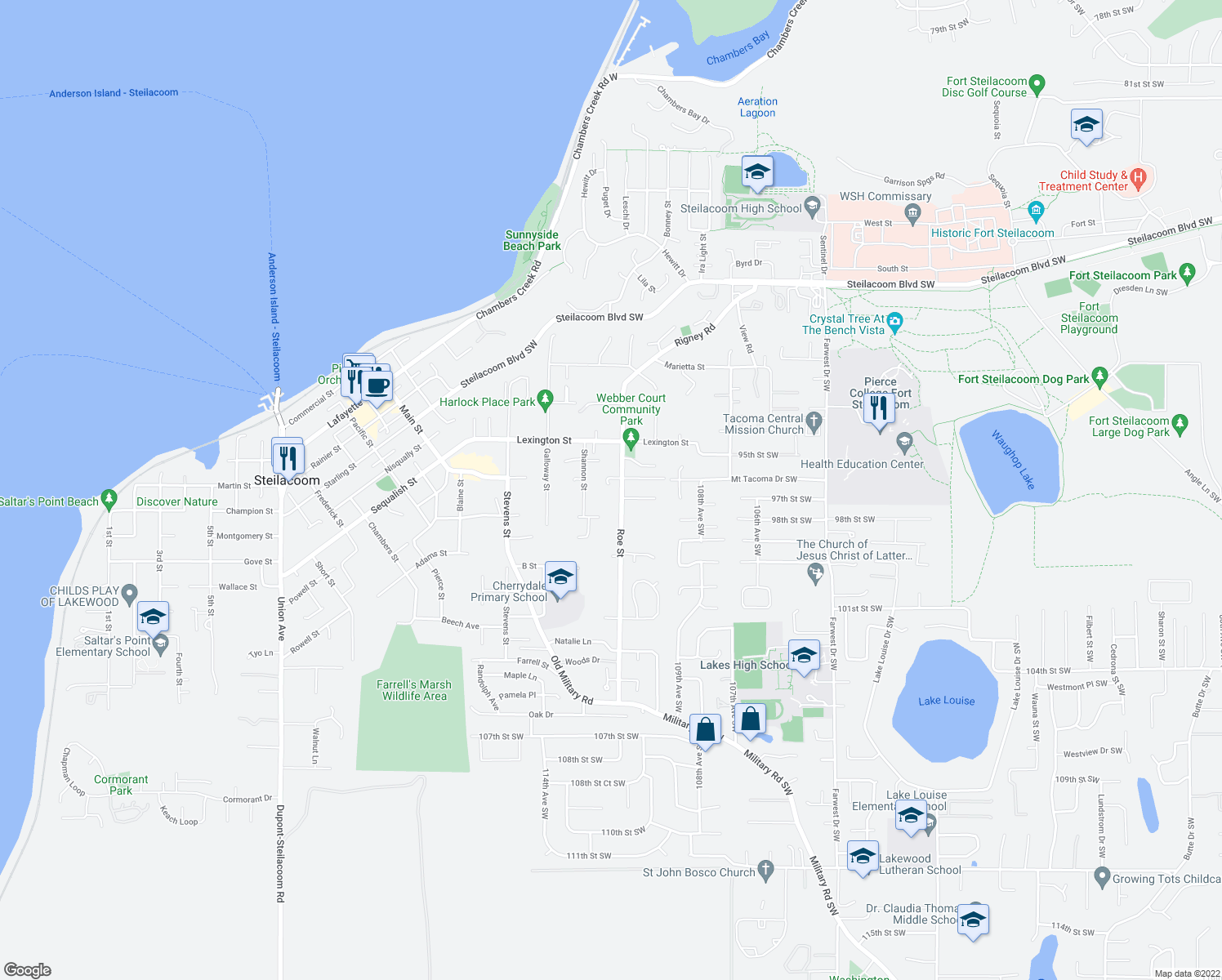 map of restaurants, bars, coffee shops, grocery stores, and more near 710 Roe Street in Steilacoom