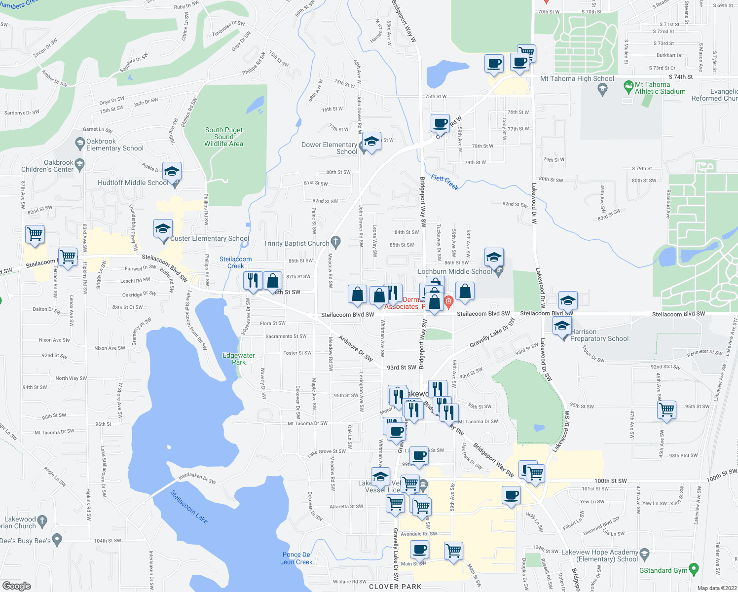 map of restaurants, bars, coffee shops, grocery stores, and more near 8711 John Dower Road Southwest in Lakewood