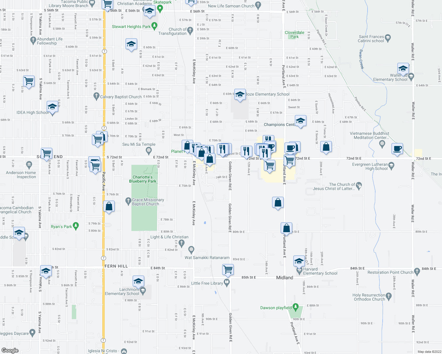 map of restaurants, bars, coffee shops, grocery stores, and more near 1025 74th Street East in Tacoma