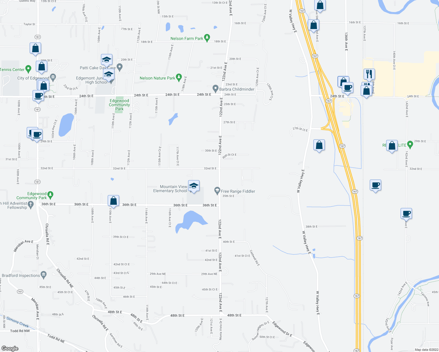 map of restaurants, bars, coffee shops, grocery stores, and more near 3208-3298 122nd Avenue East in Edgewood