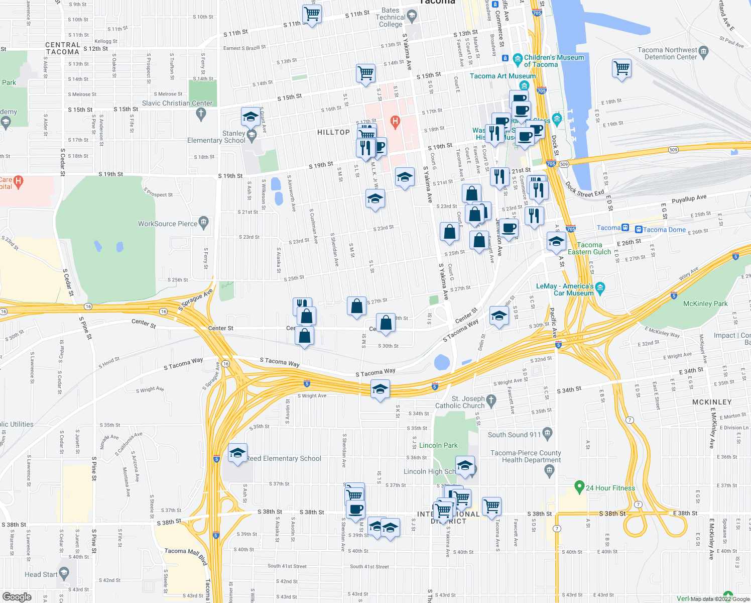 map of restaurants, bars, coffee shops, grocery stores, and more near 1200-1248 South 27th Street in Tacoma