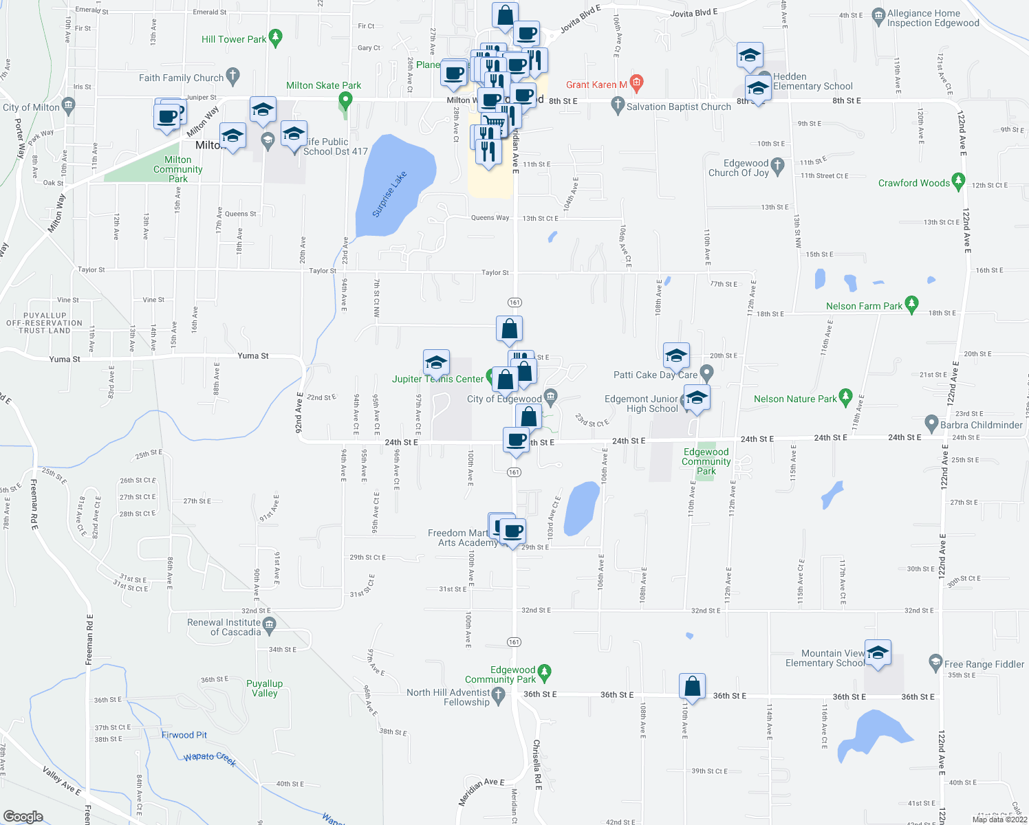 map of restaurants, bars, coffee shops, grocery stores, and more near 2201-2301 Meridian Avenue East in Edgewood