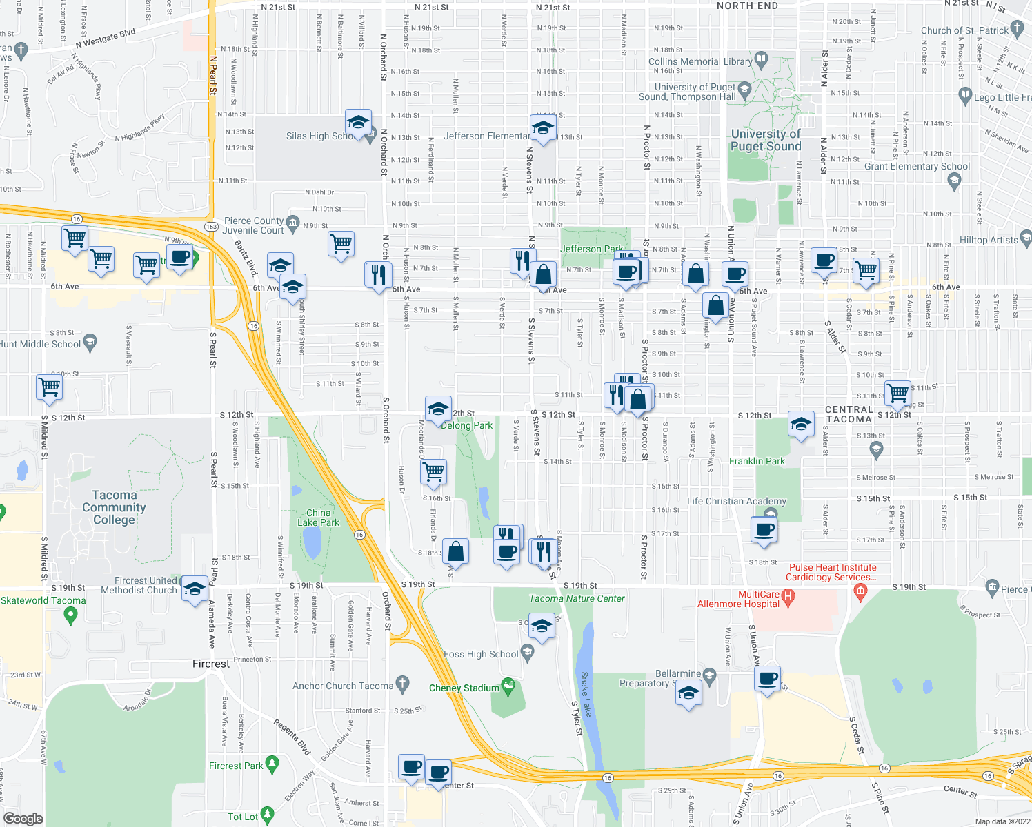 map of restaurants, bars, coffee shops, grocery stores, and more near S 12th St & S Verde St in Tacoma
