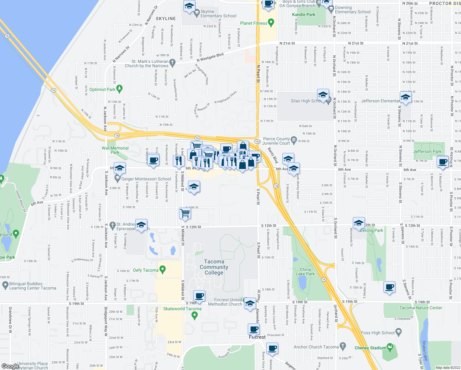 map of restaurants, bars, coffee shops, grocery stores, and more near 729 S Vassault St in Tacoma