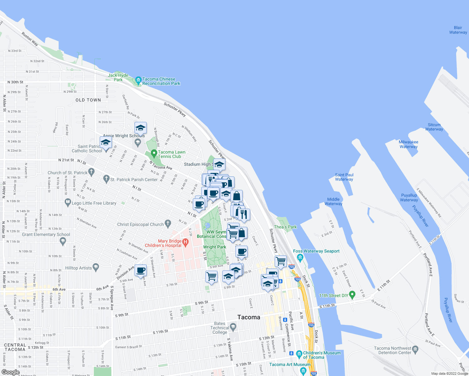 map of restaurants, bars, coffee shops, grocery stores, and more near 25-99 North E Street in Tacoma