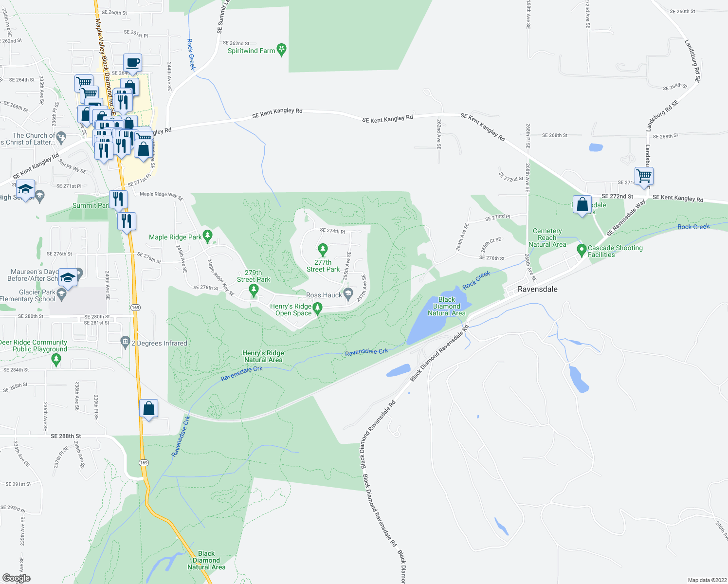 map of restaurants, bars, coffee shops, grocery stores, and more near 257 th Avenue Southeast in Maple Valley