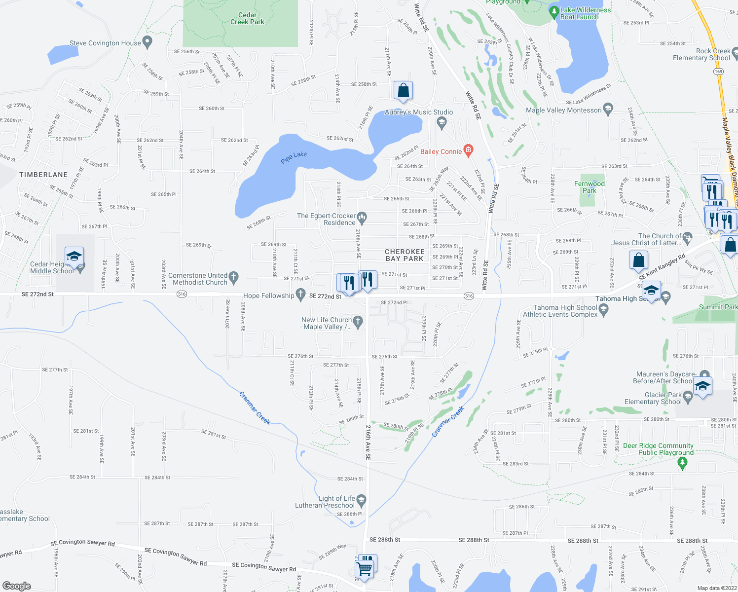 map of restaurants, bars, coffee shops, grocery stores, and more near 21619 Southeast 272nd Street in Maple Valley