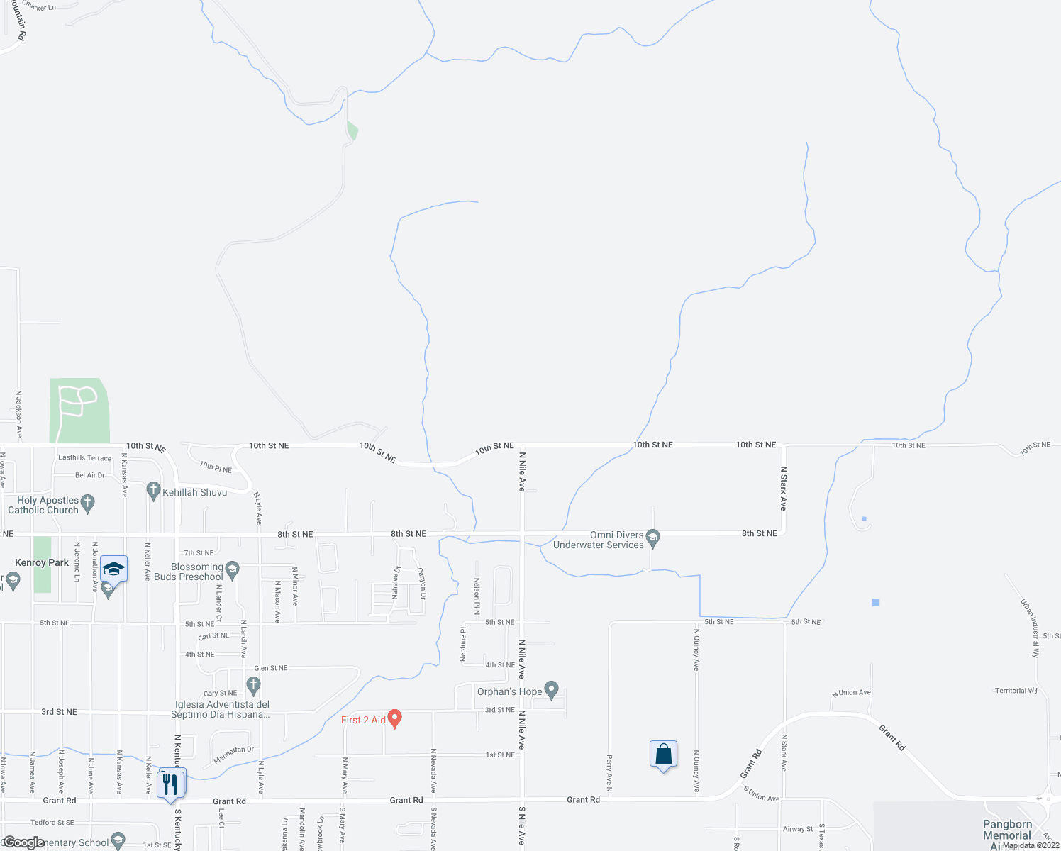 map of restaurants, bars, coffee shops, grocery stores, and more near 2524 Northeast Nickel Lane in East Wenatchee