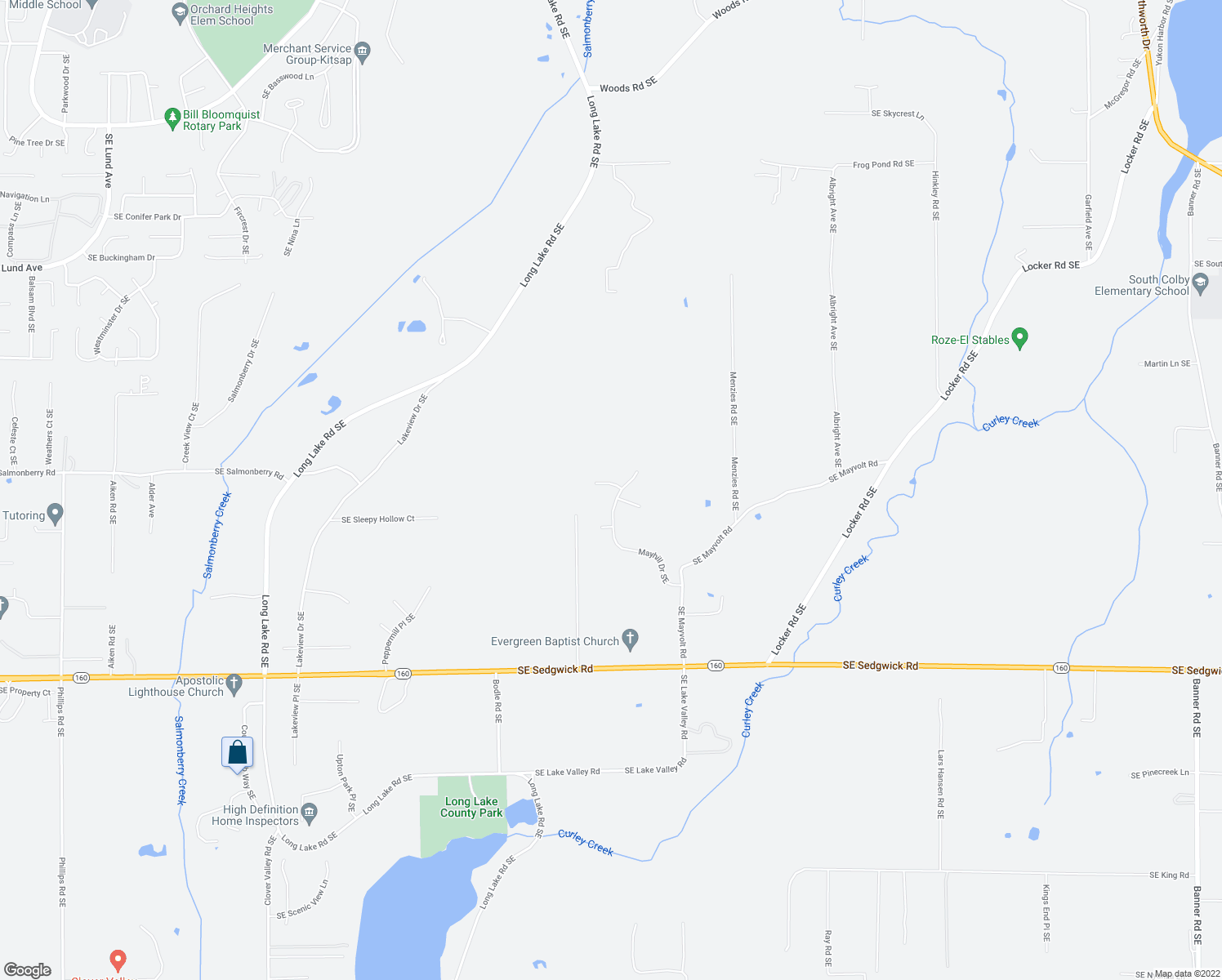 map of restaurants, bars, coffee shops, grocery stores, and more near 4271-4279 Mayhill Drive Southeast in Port Orchard