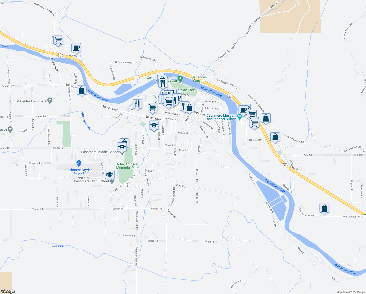 map of restaurants, bars, coffee shops, grocery stores, and more near 105 Fasken Drive in Cashmere
