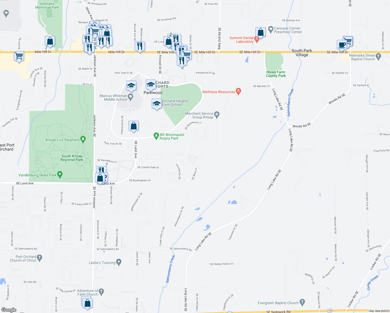 map of restaurants, bars, coffee shops, grocery stores, and more near 2798 Catalpa Court Southeast in Port Orchard