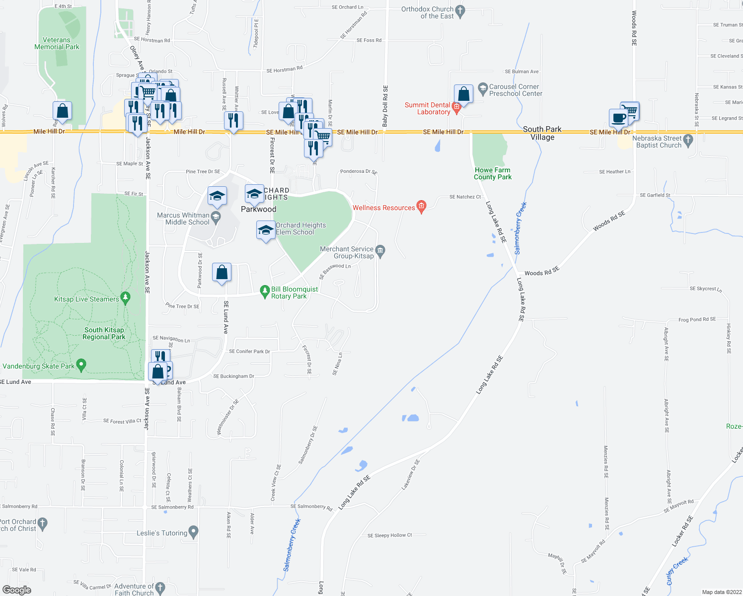 map of restaurants, bars, coffee shops, grocery stores, and more near 2632 Aspen Street Southeast in Port Orchard