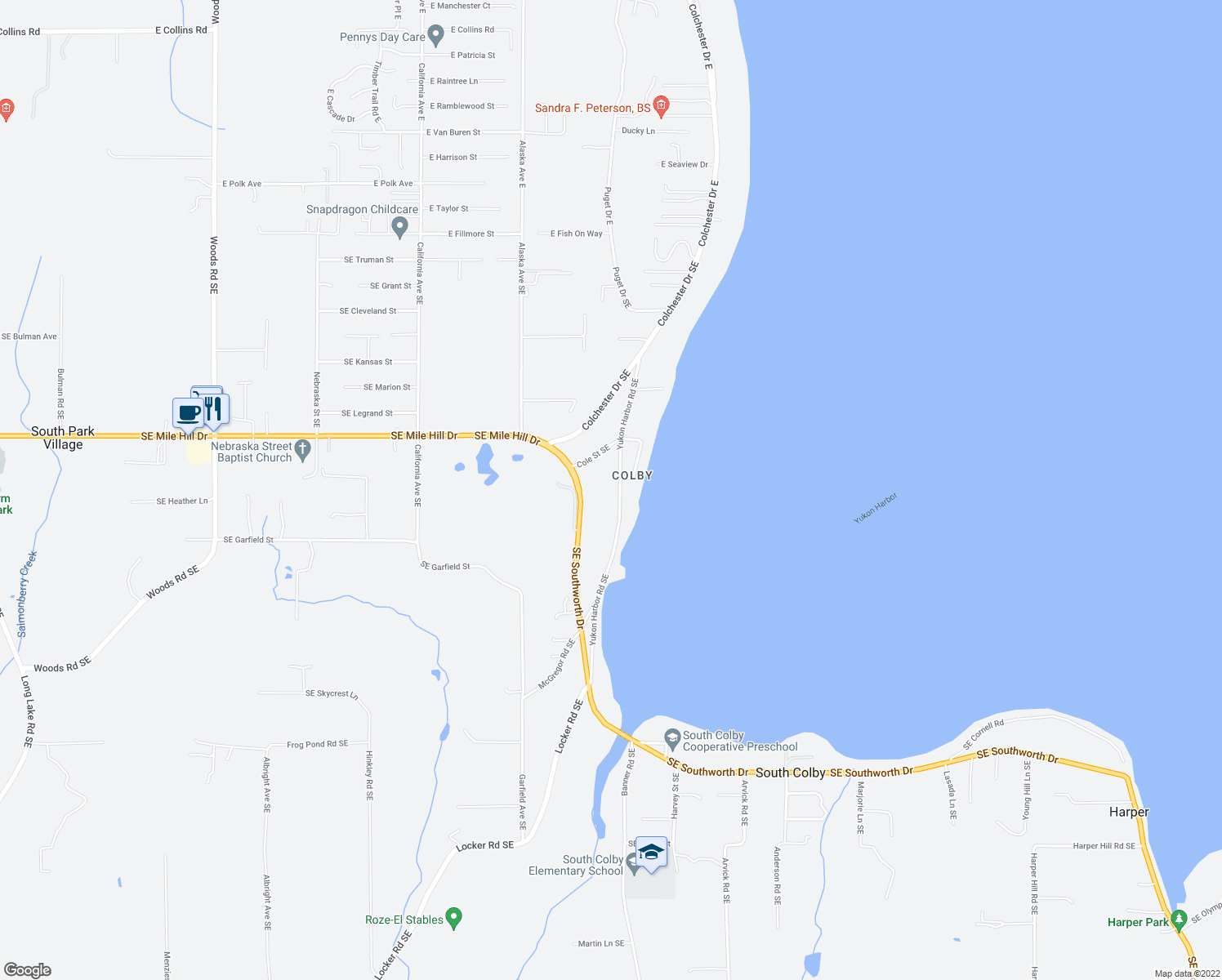 map of restaurants, bars, coffee shops, grocery stores, and more near 1888 Yukon Harbor Road Southeast in Port Orchard