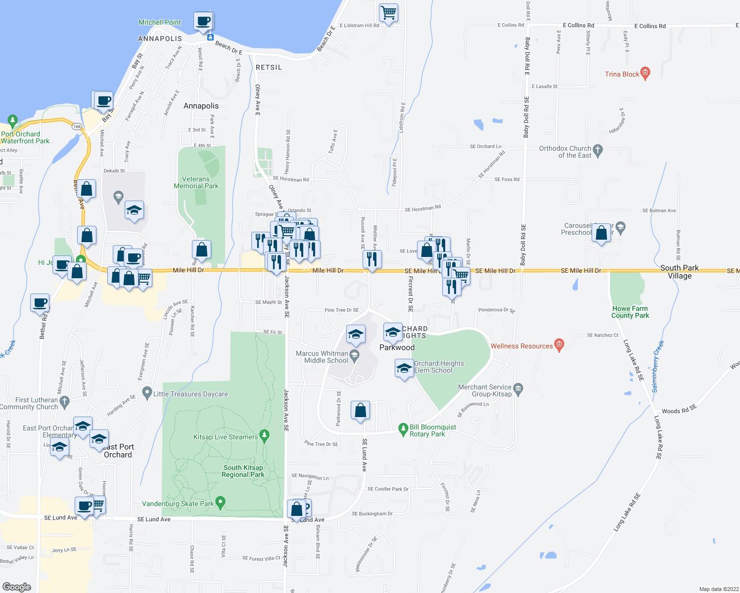 map of restaurants, bars, coffee shops, grocery stores, and more near 1773 Harrison Avenue Southeast in Port Orchard
