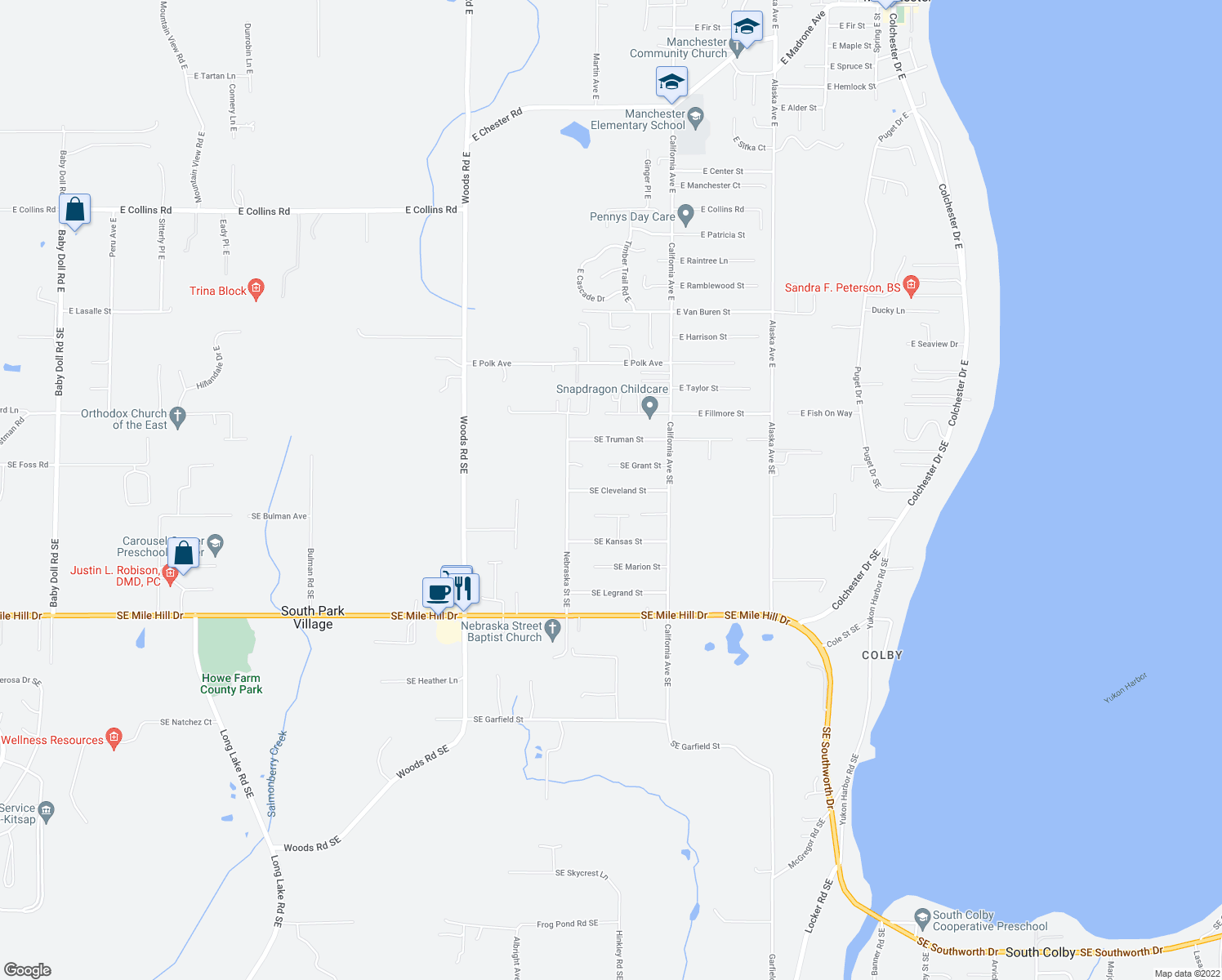 map of restaurants, bars, coffee shops, grocery stores, and more near 6915 Southeast Cleveland Street in Port Orchard