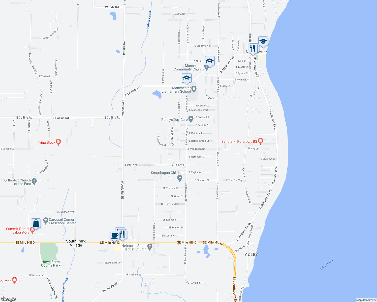 map of restaurants, bars, coffee shops, grocery stores, and more near 7245 East Harrison Street in Port Orchard