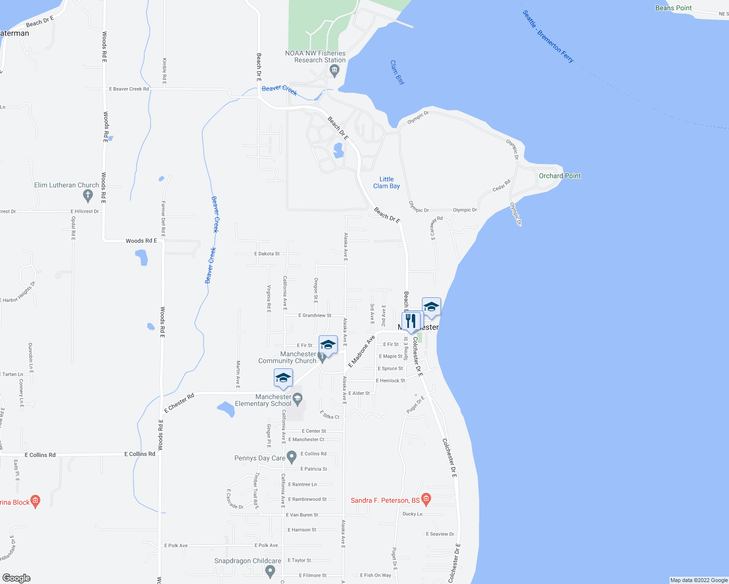 map of restaurants, bars, coffee shops, grocery stores, and more near 6401-6499 East Royalview Lane in Port Orchard