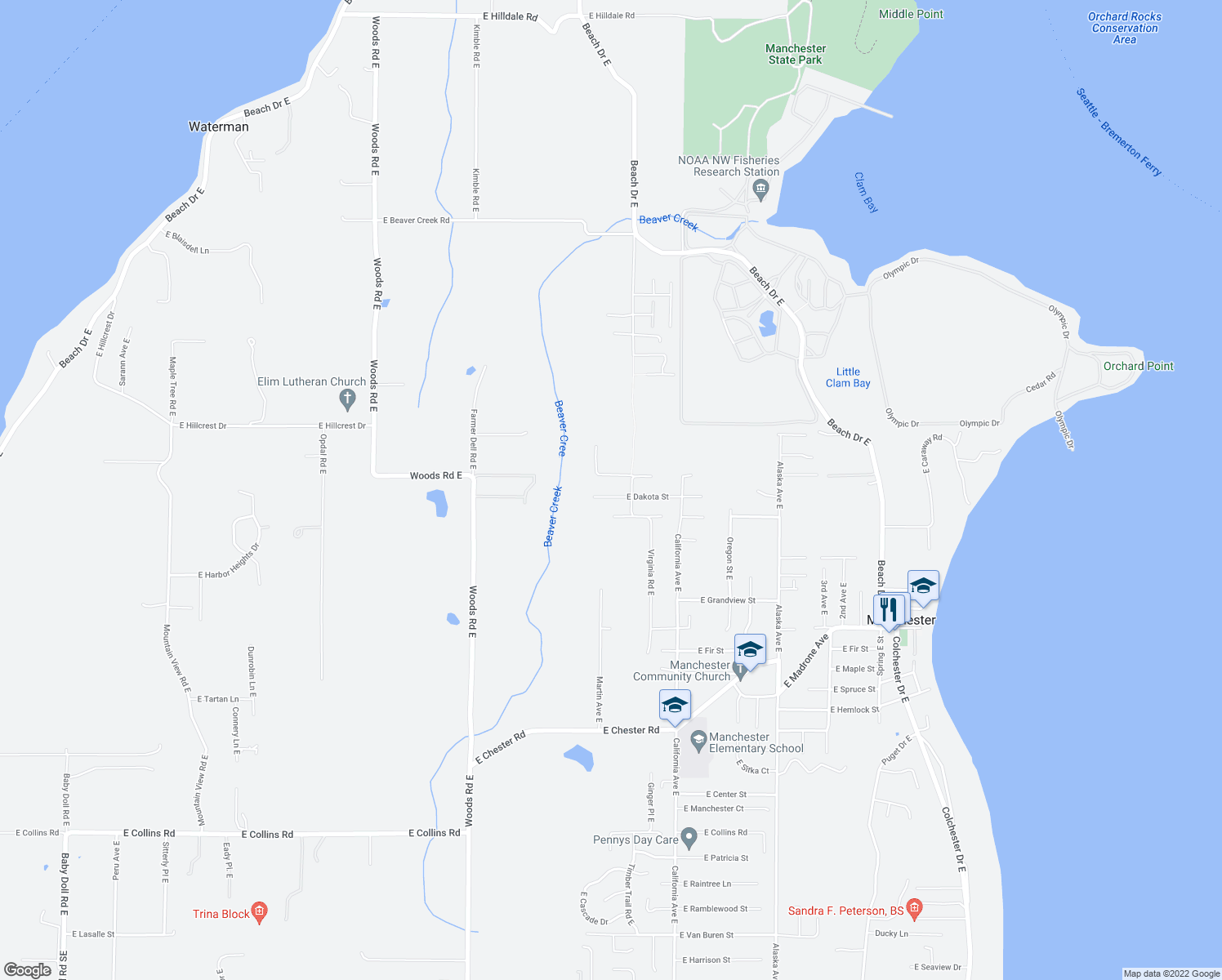 map of restaurants, bars, coffee shops, grocery stores, and more near 6983 East Dakota Street in Port Orchard