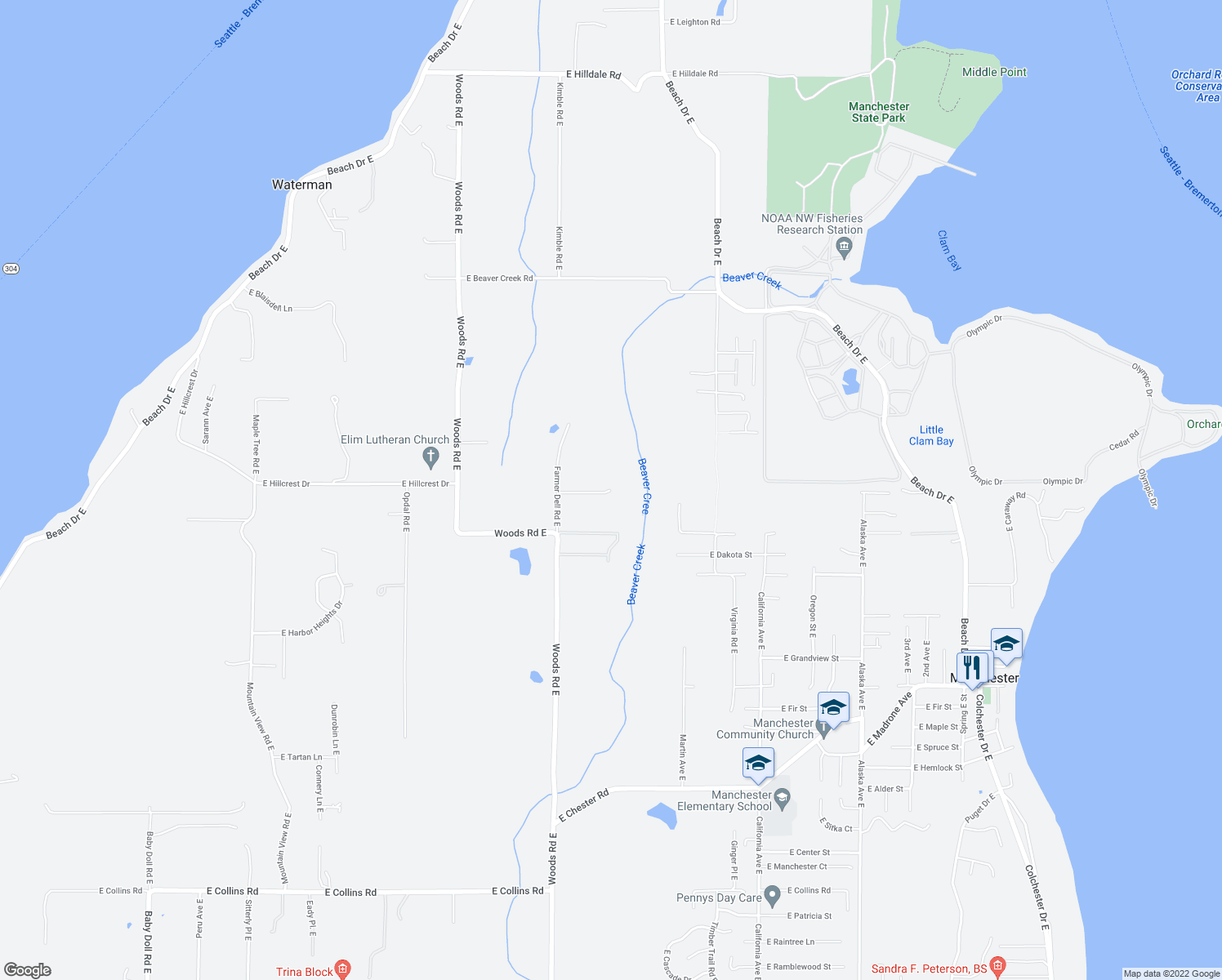 map of restaurants, bars, coffee shops, grocery stores, and more near 7141 East Michigan Street in Port Orchard