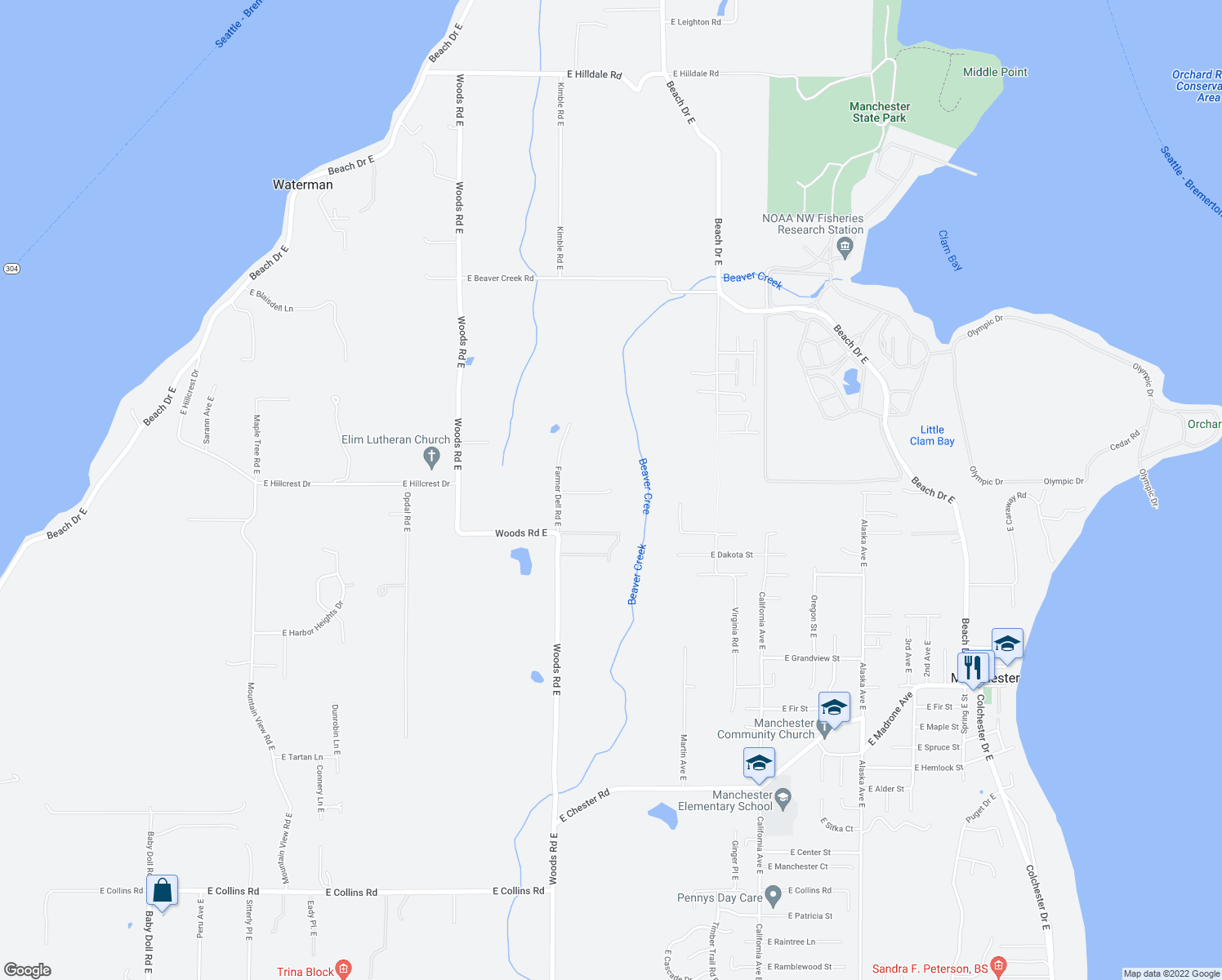 map of restaurants, bars, coffee shops, grocery stores, and more near 7153 East Michigan Street in Port Orchard