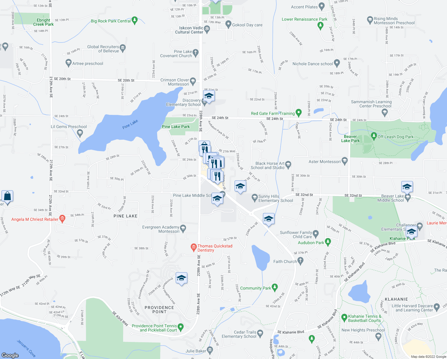 map of restaurants, bars, coffee shops, grocery stores, and more near 3090 Issaquah-Pine Lake Road Southeast in Sammamish