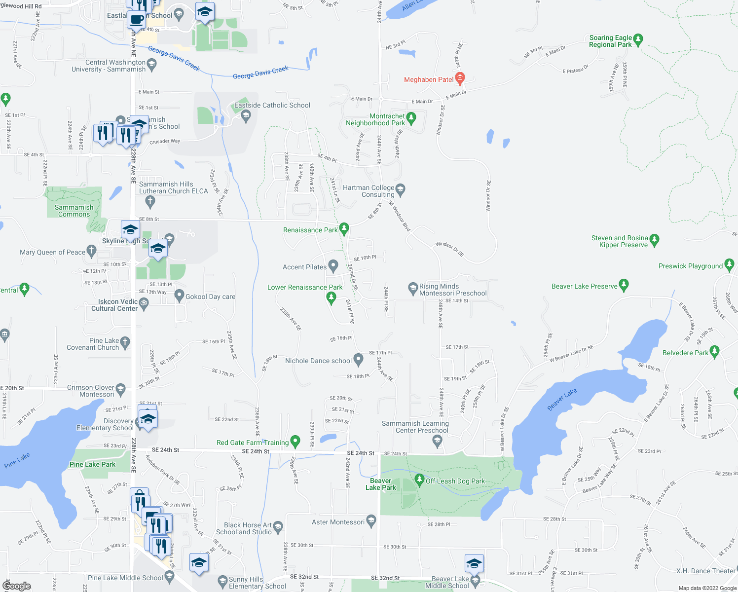 map of restaurants, bars, coffee shops, grocery stores, and more near 1200 243rd Place Southeast in Sammamish