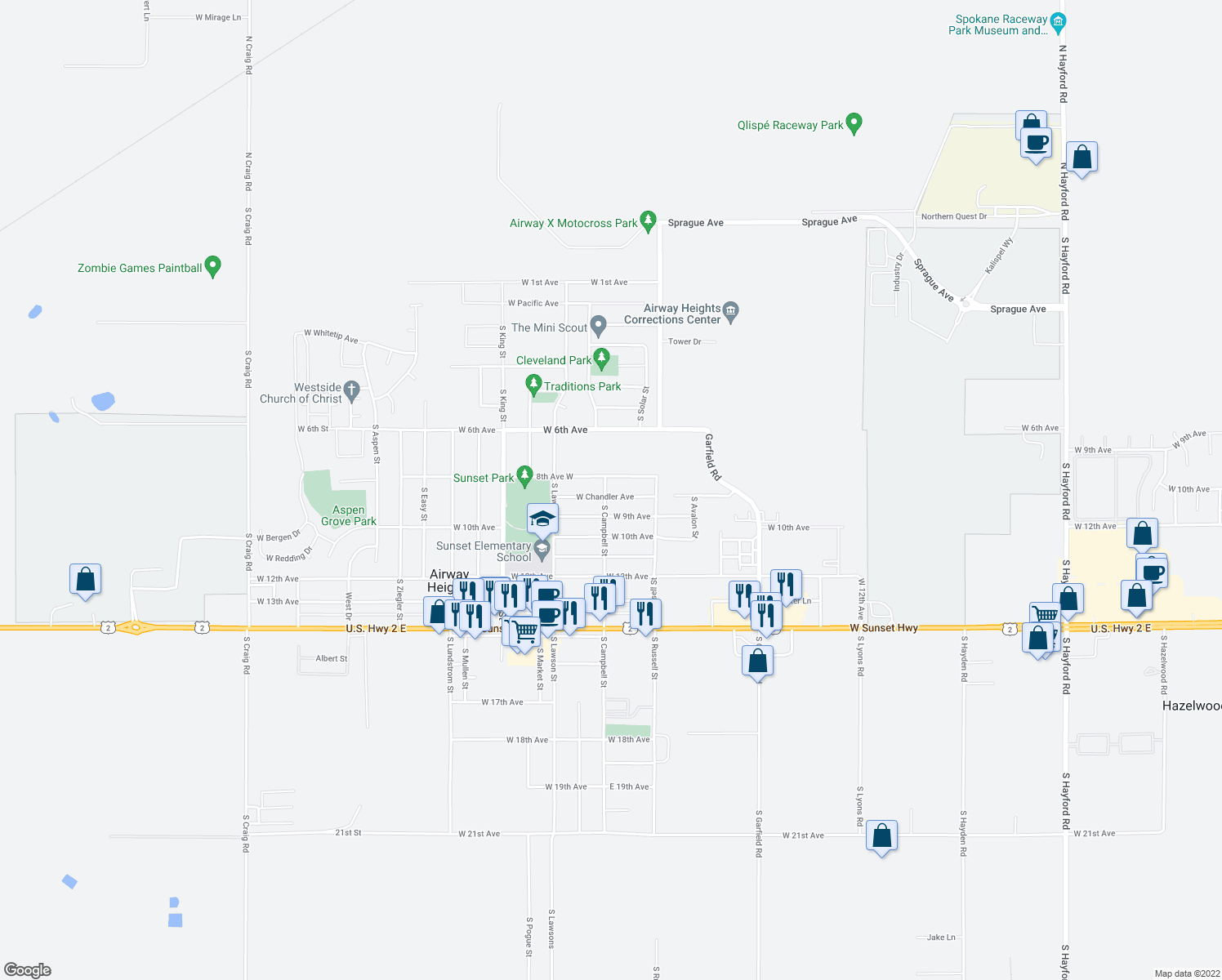 map of restaurants, bars, coffee shops, grocery stores, and more near West Chandler Avenue in Airway Heights