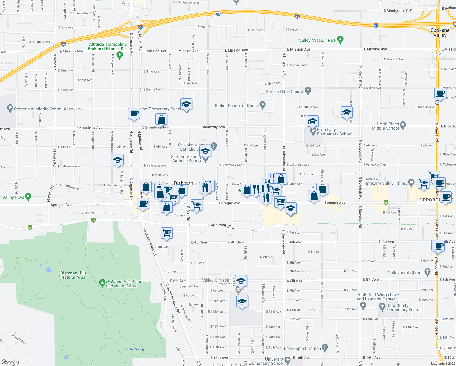 map of restaurants, bars, coffee shops, grocery stores, and more near 224 North Herald Road in Spokane Valley
