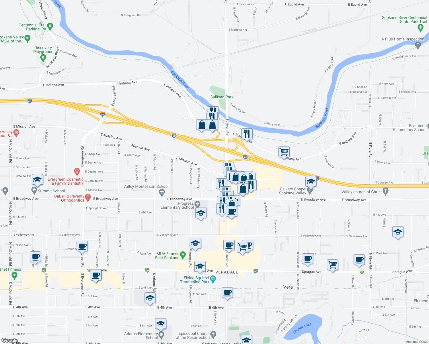 map of restaurants, bars, coffee shops, grocery stores, and more near 15315 East Mission Avenue in Spokane Valley