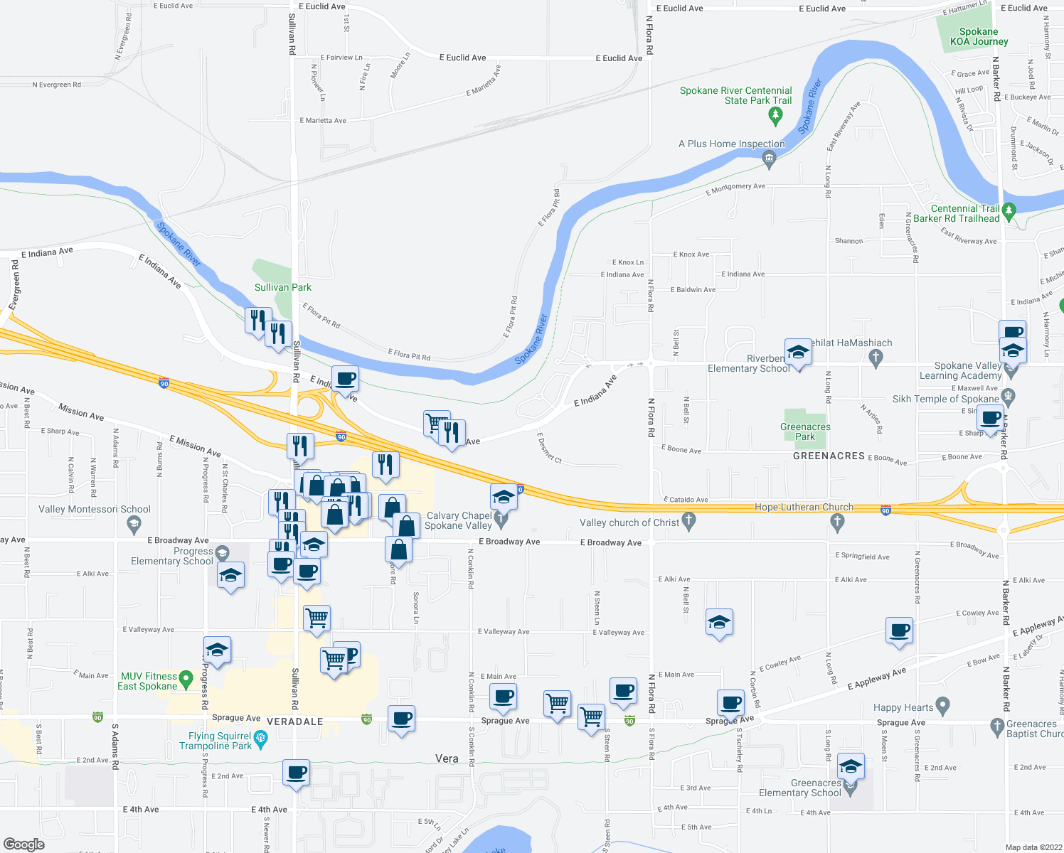map of restaurants, bars, coffee shops, grocery stores, and more near 16424 East Indiana Avenue in Spokane Valley