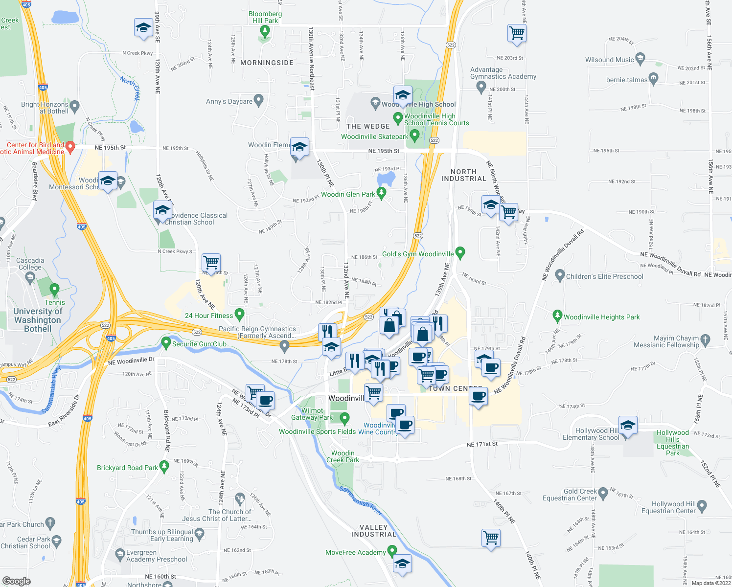 map of restaurants, bars, coffee shops, grocery stores, and more near 13280 Northeast 183rd Street in Woodinville