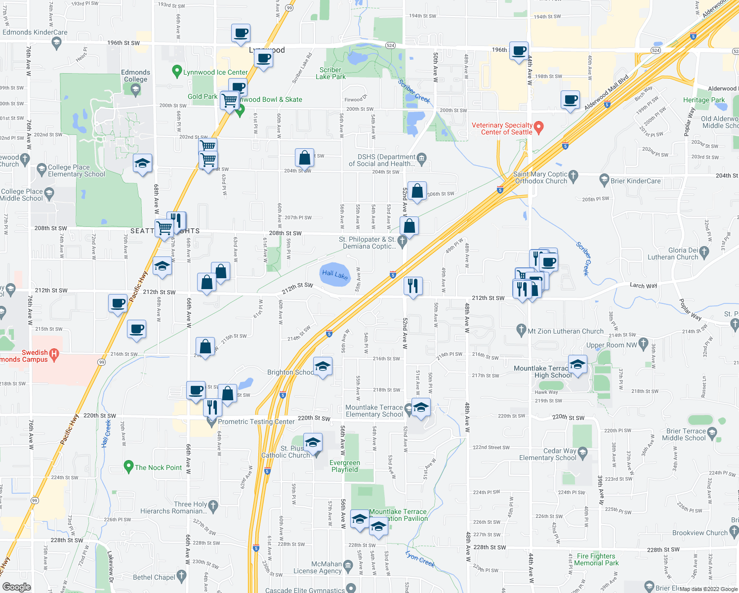map of restaurants, bars, coffee shops, grocery stores, and more near 5501-5525 212th Street Southwest in Lynnwood