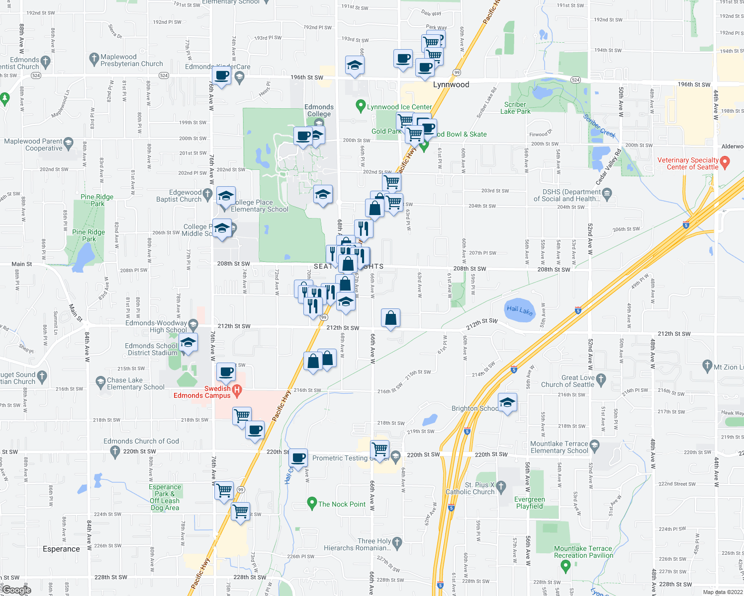 map of restaurants, bars, coffee shops, grocery stores, and more near 21024 66th Avenue West in Lynnwood