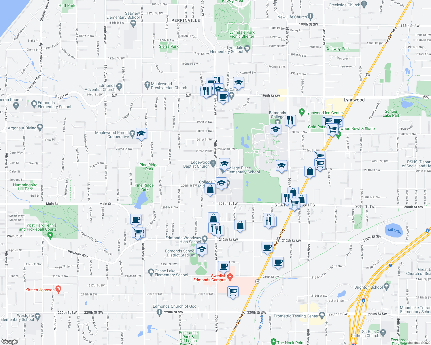map of restaurants, bars, coffee shops, grocery stores, and more near 76th Avenue West in Edmonds